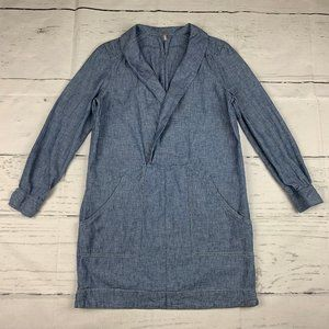 Free People chambray shawl collar shift dress W31